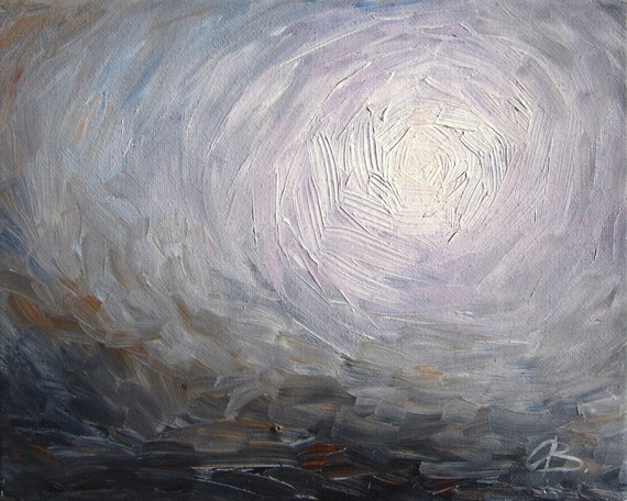 Abstract landscape art print, gray, purple (lavender), oil painting, haze, storm, skyscape