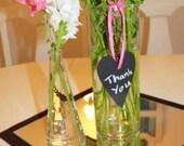 Chalkboard wooden love heart tags - set of 6 - reusable