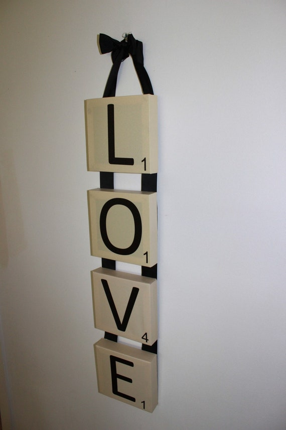 Items similar to scrabble wall art canvas love vertical for Vertical wall art