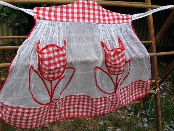 Vintage 1950s Red & White Gingham Half Waist Apron with Tulip Pockets - HMS Pinafore Brand