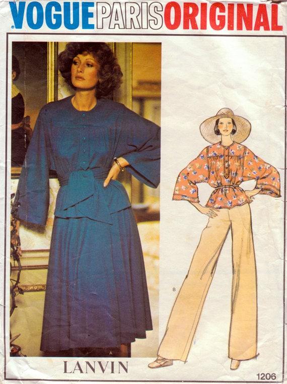 1970s Vogue Paris Original 1206 Lanvin Top, Skirt & Pants Vintage Sewing Pattern - Size 14 Bust 36