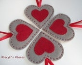 Felt Hearts - Felt Ornaments Home Decor - Love - OOAK