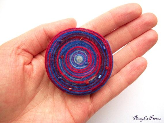 Spiral - Red vs Blue Felt Brooch