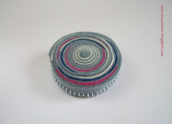 Swirl - Grey Blue White and Pink Felt Brooch ooak
