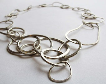 Silver statement necklace- Handmade sterling silver statement necklace- Silver chain necklace