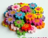 22mm Rainbow Color Sun Flower Wooden Beads - 1 Pack / 20 pcs (WB27)