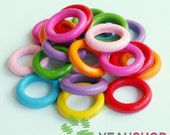 24mm Rainbow Color Wooden Rings - 1 Pack / 20 pcs (WB52)