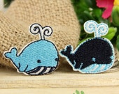 Iron on Fabric Patches - Blue and Black Whales - Set of 2 - FP19