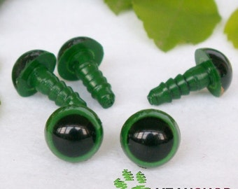 9mm Green Safety Eyes / Plastic Eyes - 10 Pairs