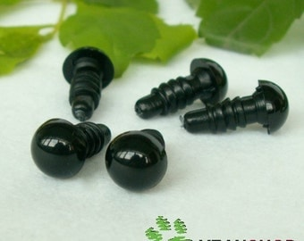 Black Round Safety Eyes Plastic Doll Eyes (BE) - 10 Pairs - 3mm 4mm 4.5mm 5mm 5.5mm 6mm 6.5mm 7mm 7.5mm 8mm 9mm 10mm