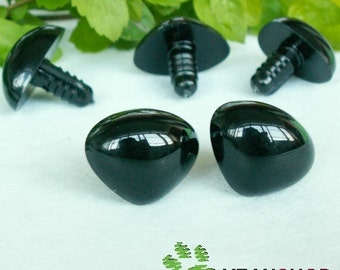 30mmx23mm Black Triangle Safety Nose / Plastic Nose - 2 PCS - Black