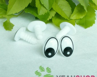 11mmx15mm Oval Comic Eyes / Safety Eyes / Printed Eyes - 5 Pairs