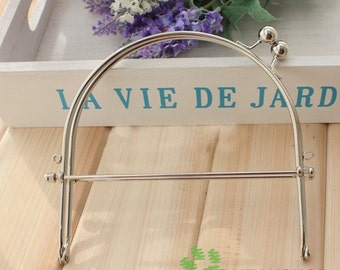 Silver Color Half Round Purse Frame with Handles - 15cm / 6 inch (PFH-1)