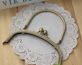 Antique Brass Embossed Handle Purse Frame - 16cm / 6.3 inch (PFH-5)
