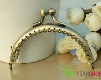 Antique Brass Purse Frame -  Half Round Lace-edge Bead - 8.5cm / 3.3 inch (PF85-18)