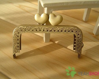 Antique Brass Embossed Purse Frame - Rectangle Sweet Heart - 8cm / 3.1 inch (RPF-12)