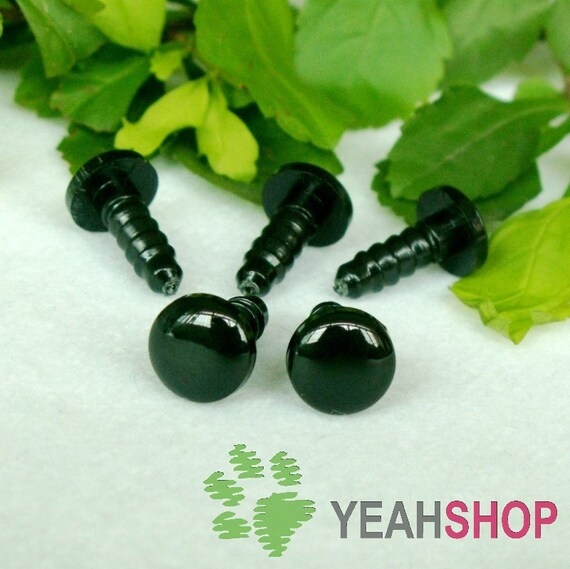 8mm Black Round Flat Eyes / Plastic Eyes - 10 Pairs