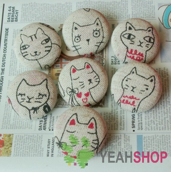 Fabric Covered Buttons - Cats with Different Looks - 25mm - 7pcs