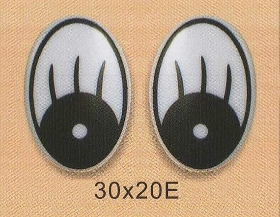 30mmx20mm (E) Oval Comic Eyes / Safety Eyes / Printed Eyes - 2 Pairs