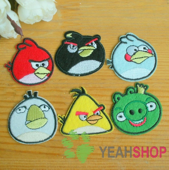 Angry Birds Sew on / Iron on Fabric Patches / Appliques - Set of 6 - 1 Set