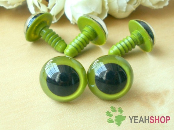 15mm Grass Green Safety Eyes / Plastic Eyes - 5 Pairs