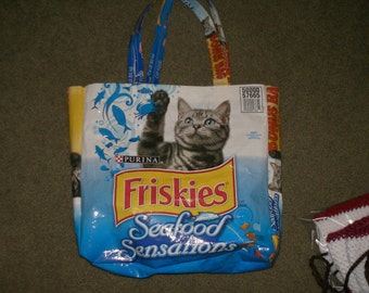 Recycled CAT food  BAG tote GREY cat washable