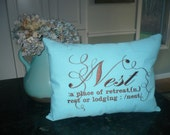 Beautiful pillow embroidered Nest sentiment