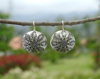 Pure Silver Earrings - The Nature Stamped