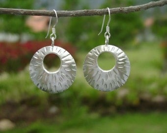 Tribal Silver Earrings - The Circle Radiant Shield(2)