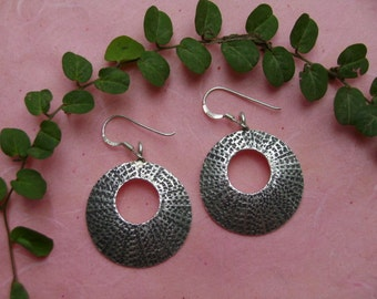 Thai Silver Earrings - The Circle Radiant Shield(3)