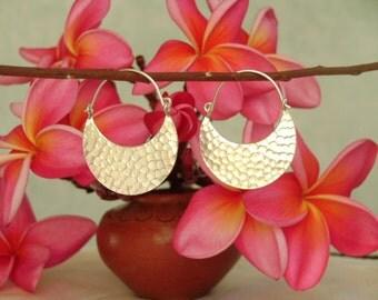 Thai Karen Silver Earrings - A Crescent Moon(6)