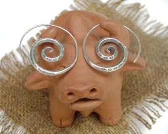 Spiral Silver Earrings - The Spiral Sunshine Bloom (4)