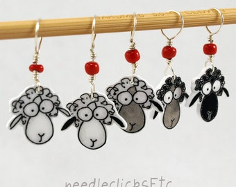 sheep stitch markers, whimsical set of 5, fun knitter gift