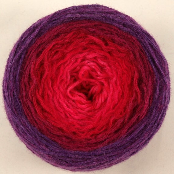 Fuschia, hand-dyed worsted weight lambswool reclaimed yarn