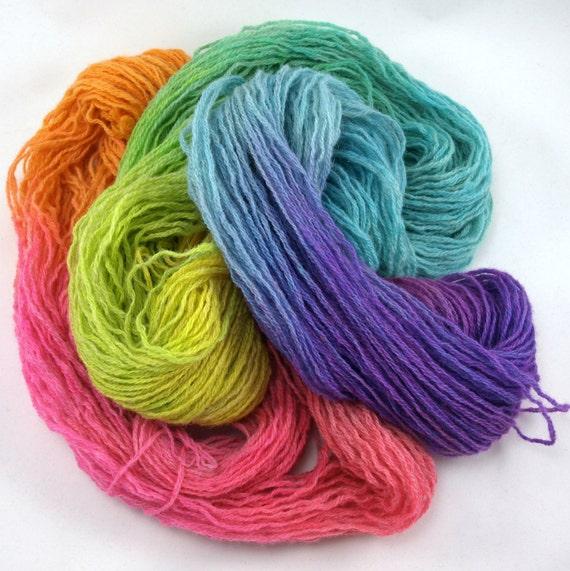 rainbow hand painted fingering weight reclaimed wool yarn, 225 yards