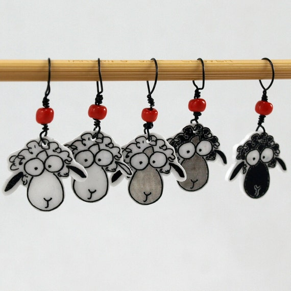 sheep stitch markers, whimsical set of 5