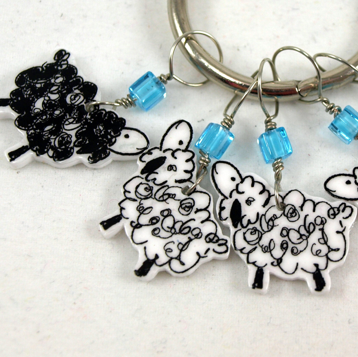 whimsical sheep stitch markers set of 5 snag free