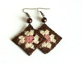 Brown pink beige crochet square earrings