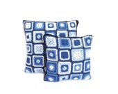 Crochet Denim Cushion Pillow Cover set, granny throw pillows, decorative pillows set, navy blue crocheted pillows, blue and white cushions
