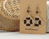 Cream beige and chocolate brown crochet square earrings - crochet accessories