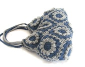 Flower crochet handbag, blue denim knit bag, crochet bag