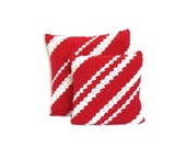 Red and white diagonal stripes color block throw pillowcases, crochet accent pillow cushion, crochet throw pillows set, 12 and 15 inches