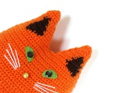 Cute orange cat toy pillow, crochet cat cushion, stuffed cat pillow, orange pet pillow, animal cat pillow, stuffy cat toy, pet pillow