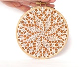 Embroidery Hoop Art - knitted lace - wall hanging house decoration - 5""