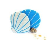 Sea shell decorative pillows set, ocean home decor, sofa pillows, crochet sea shell cushions, stuffed