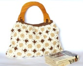 Crochet flower handbag in natural colors with wooden handles, crochet bag, purse, tote bag