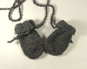 Thumbless baby mittens, hand knitted - 0-12 months - gray