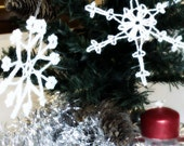 12 Lace Crochet Snowflakes, christmas decoration ornament, white winter decor embelishment, hanging winter accessory