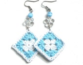 Aqua blue and white crochet square earrings - crochet accessories, beaded