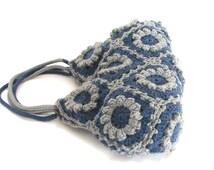 Flower crochet handbag, blue denim knit bag, crochet bag